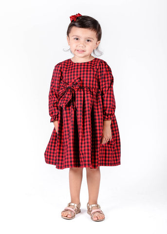 Popatu Little Girl's Red Long Sleeve Dress
