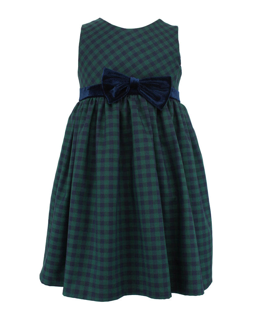 Little Girl's Green/Navy Checkered Dress