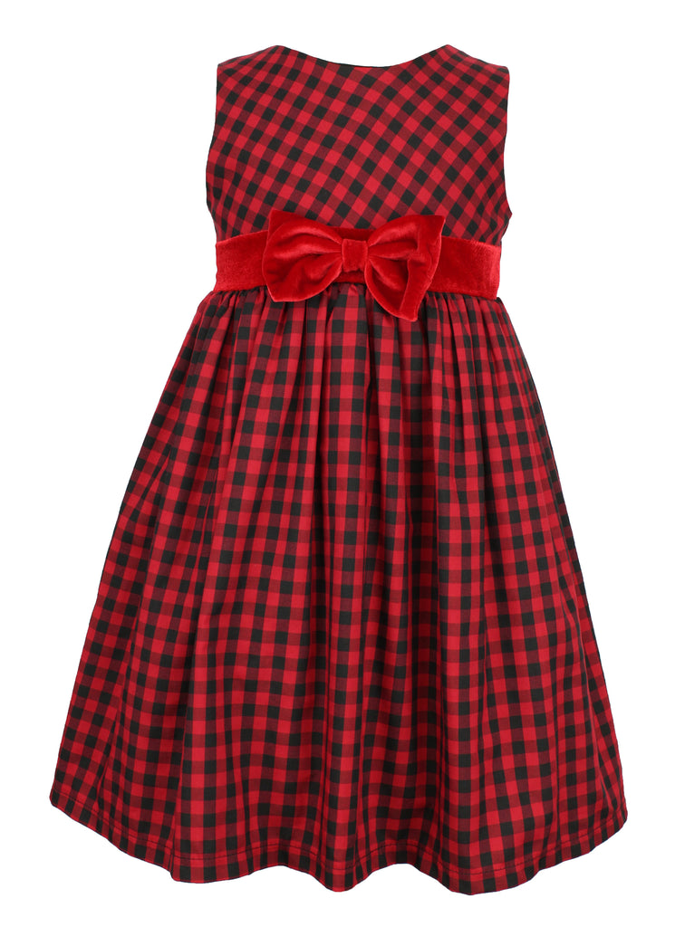 Popatu Little Girl's Red Plaid Dress - Popatu pageant and easter petti dress