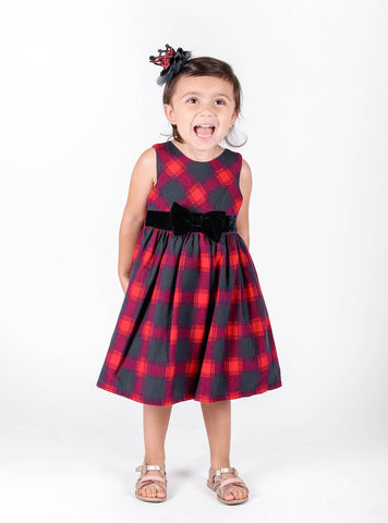 Popatu Little Girls Red/Blue Buffalo Dress - Popatu pageant and easter petti dress
