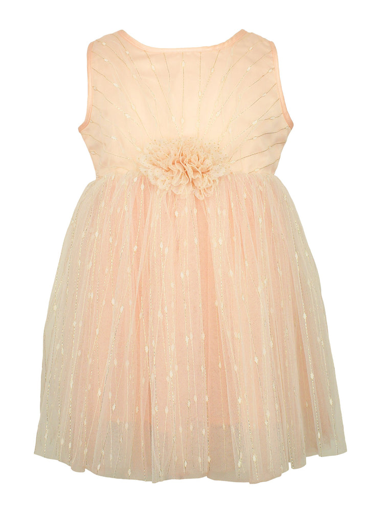 Popatu Little Girls Light Peach Gold Dress - Popatu pageant and easter petti dress