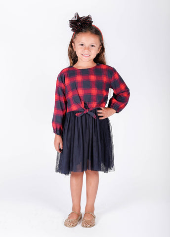 Popatu Little Girls Buffalo Plaid Tulle Dress - Popatu pageant and easter petti dress