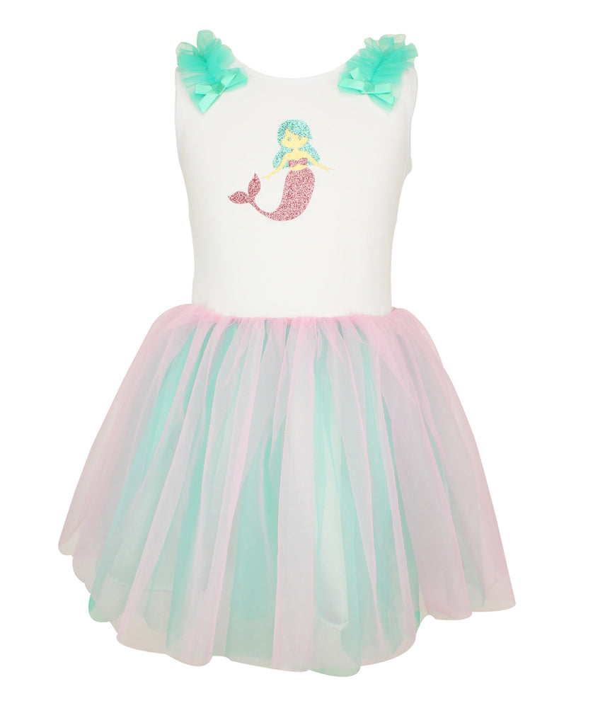 Popatu Personalized Mermaid Tank Tulle Dress (Toddler & Little Girls) - Popatu pageant and easter petti dress