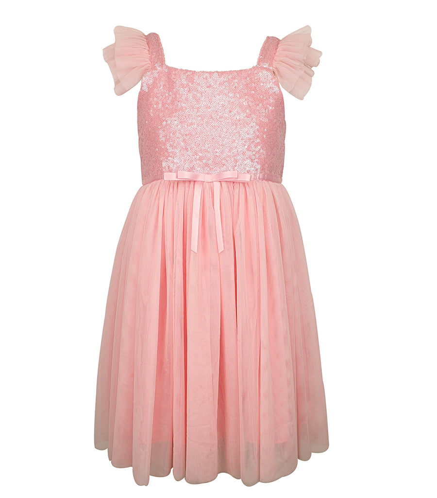 Popatu Little Girls Sequin Tulle Dress - Popatu pageant and easter petti dress