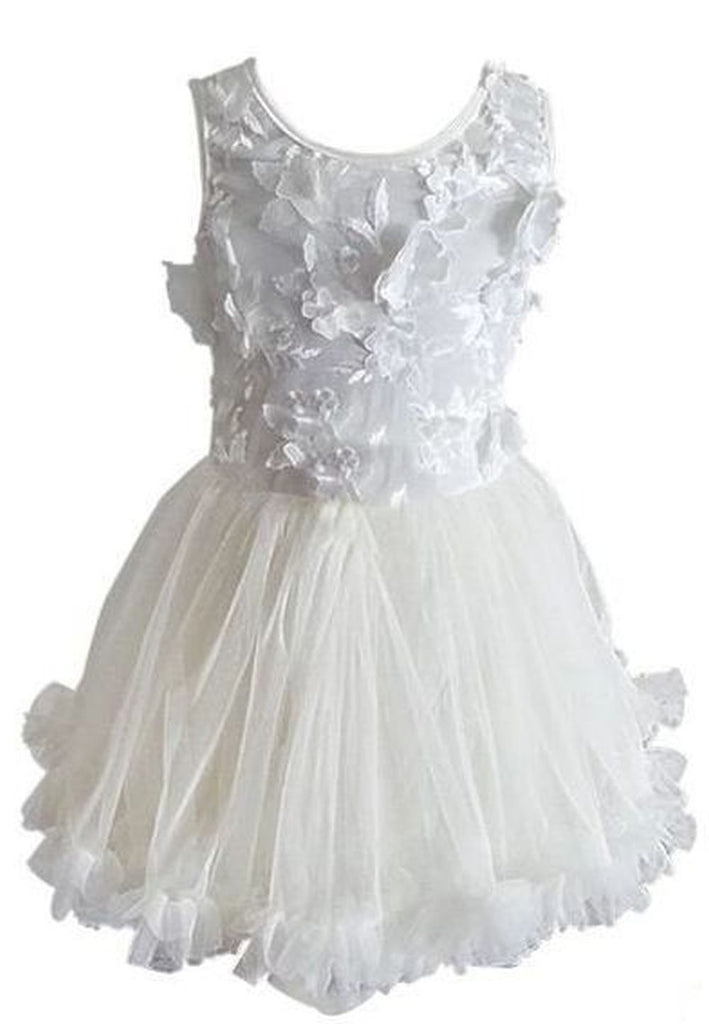 White Flower Applique Petti Dress - Popatu pageant and easter petti dress