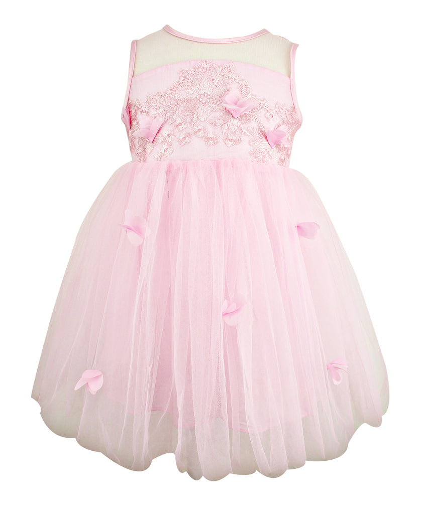 Little Girl's Pink Tulle Dress - Popatu pageant and easter petti dress
