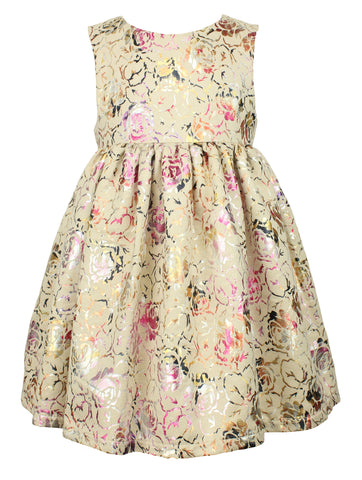 Little Girl's Elegant Faux Suede Floral Dress