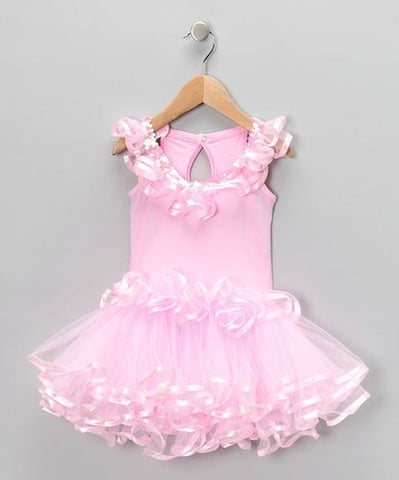 Popatu Pink Dance Dress with Multi-Layer - Popatu pageant and easter petti dress