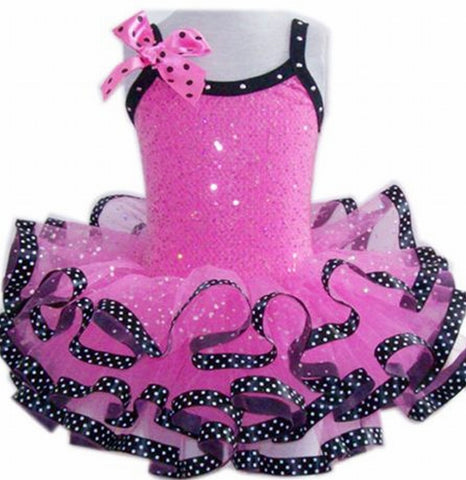 Popatu Hot Pink  Ribbon Ballet Dance Dress - Popatu pageant and easter petti dress