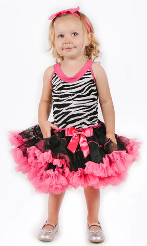 Popatu Little Girls Zebra Petti Dress - Popatu pageant and easter petti dress