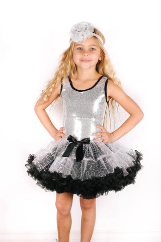 Popatu Little Girls Silver Sequin Petti Dress - Popatu pageant and easter petti dress