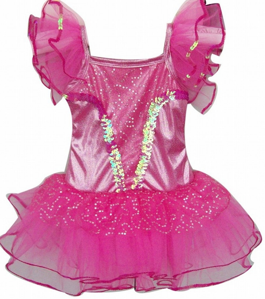 Popatu Hotpink Sequin Ballet Dance Dress - Popatu
