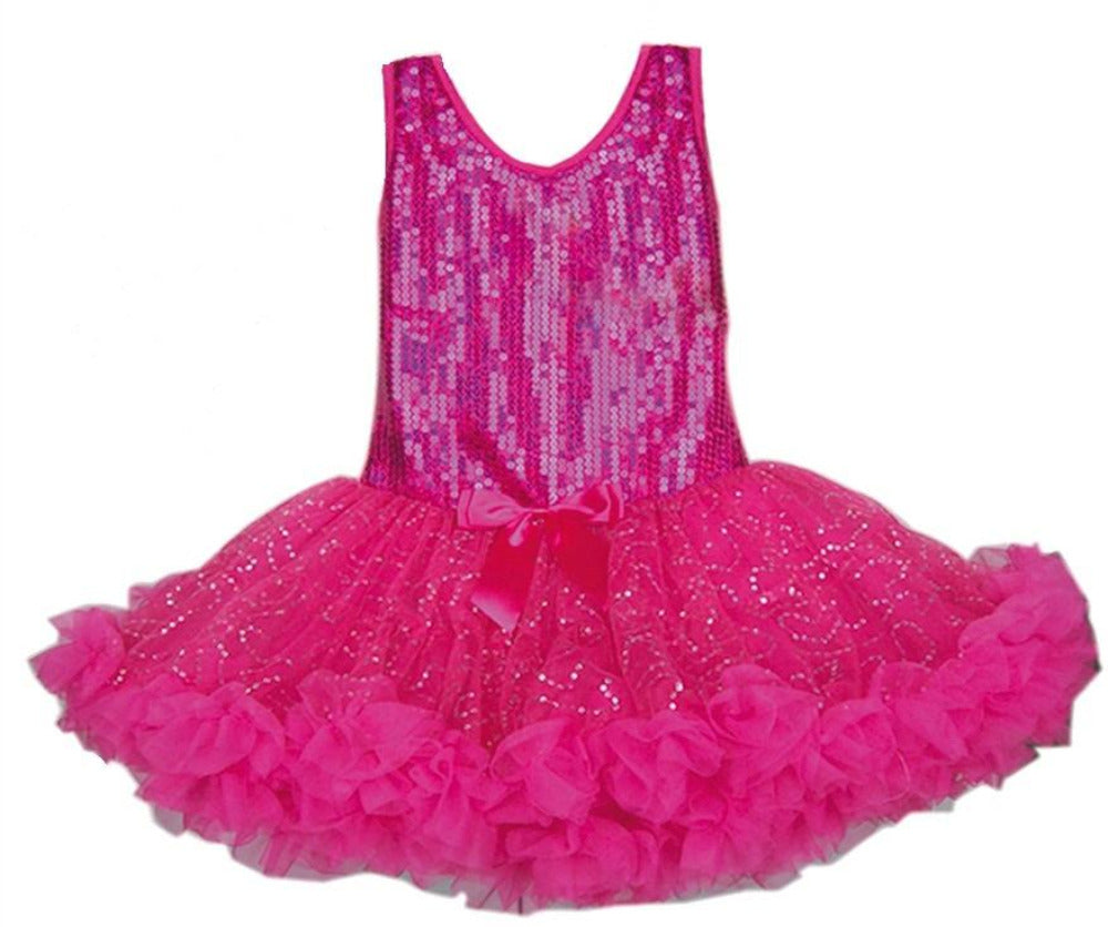 Popatu Little Girls Hot Pink Sparkling All-Over Sequin Petti Dress - Popatu pageant and easter petti dress