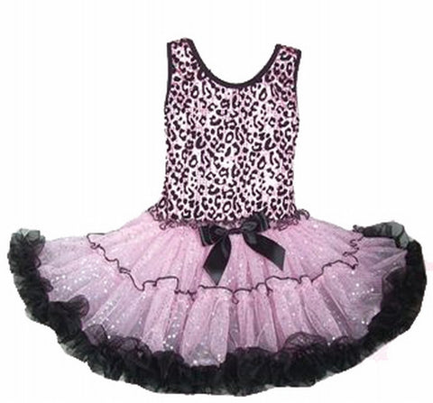 Popatu Little Girls Pink and Black Leopard Print Sparkling Petti Dress - Popatu pageant and easter petti dress