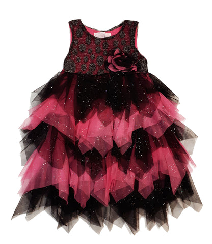 Popatu Little Girl's Black and Hotpink Party Dress - Popatu pageant and easter petti dress