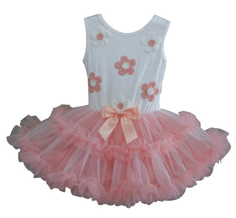 Popatu Little Girls White With Peach Daisy Petti Dress - Popatu pageant and easter petti dress