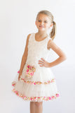Popatu Little Girls White Floral Petti Dress - Popatu pageant and easter petti dress