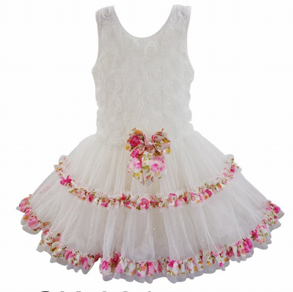 Popatu Baby Girls White Floral Ruffle Dress - Popatu pageant and easter petti dress