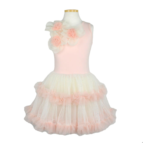 Popatu Little Girls Peach Floral Petti Dress - Popatu pageant and easter petti dress