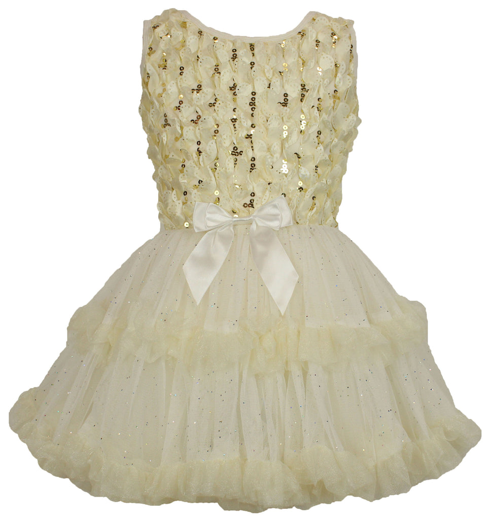 Popatu Little Girls Cream Sequin Ruffle Dress - Popatu pageant and easter petti dress
