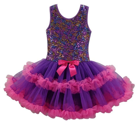 Popatu Little Girls Multi-Sequin Purple Ruffle Dress