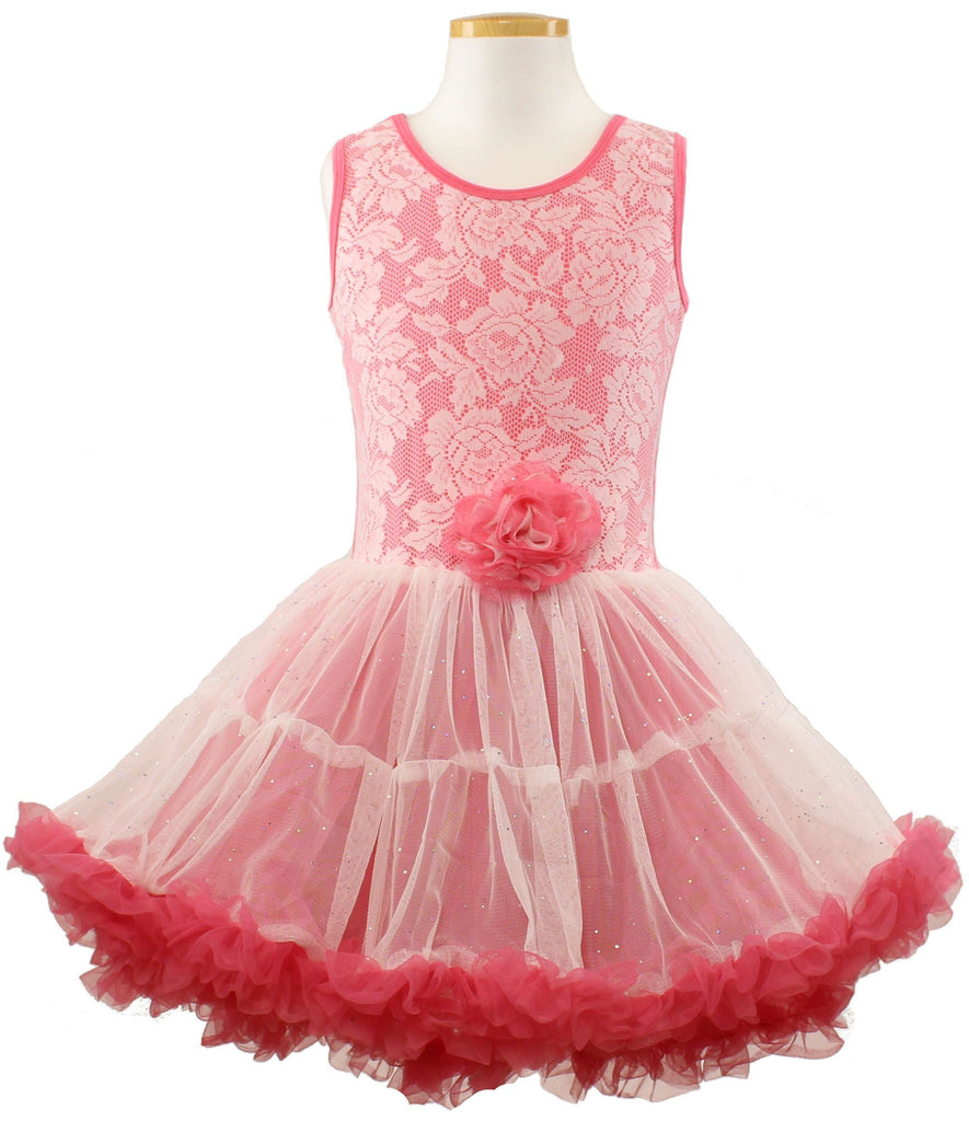 Little Girls Coral Lace Ruffle Dress - Popatu pageant and easter petti dress