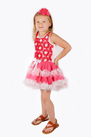 Popatu Little Girls Hot Pink Rose Petti Dress - Popatu pageant and easter petti dress