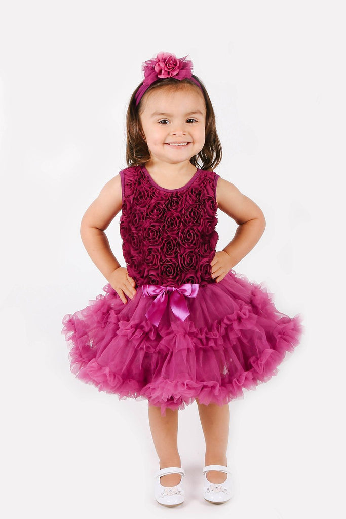 Dark Purple Flower Soutache Ruffle Dress for Girls - Popatu pageant and easter petti dress