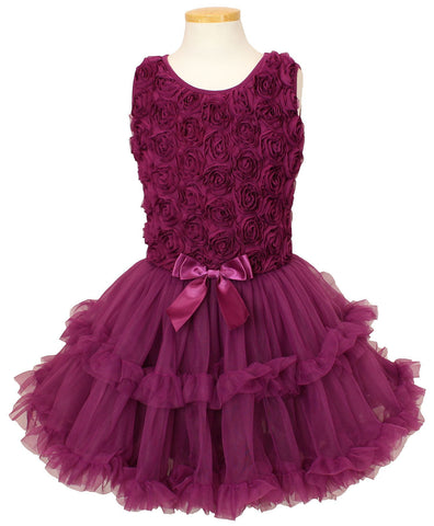 Popatu Little Girls Dark Purple Flower Soutache Ruffle Dress - Popatu pageant and easter petti dress