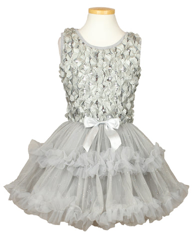 Popatu Little Girls Silver Ruffle Dress - Popatu pageant and easter petti dress