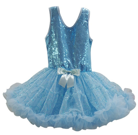 Little Girls Blue Sequin Ruffle Dress