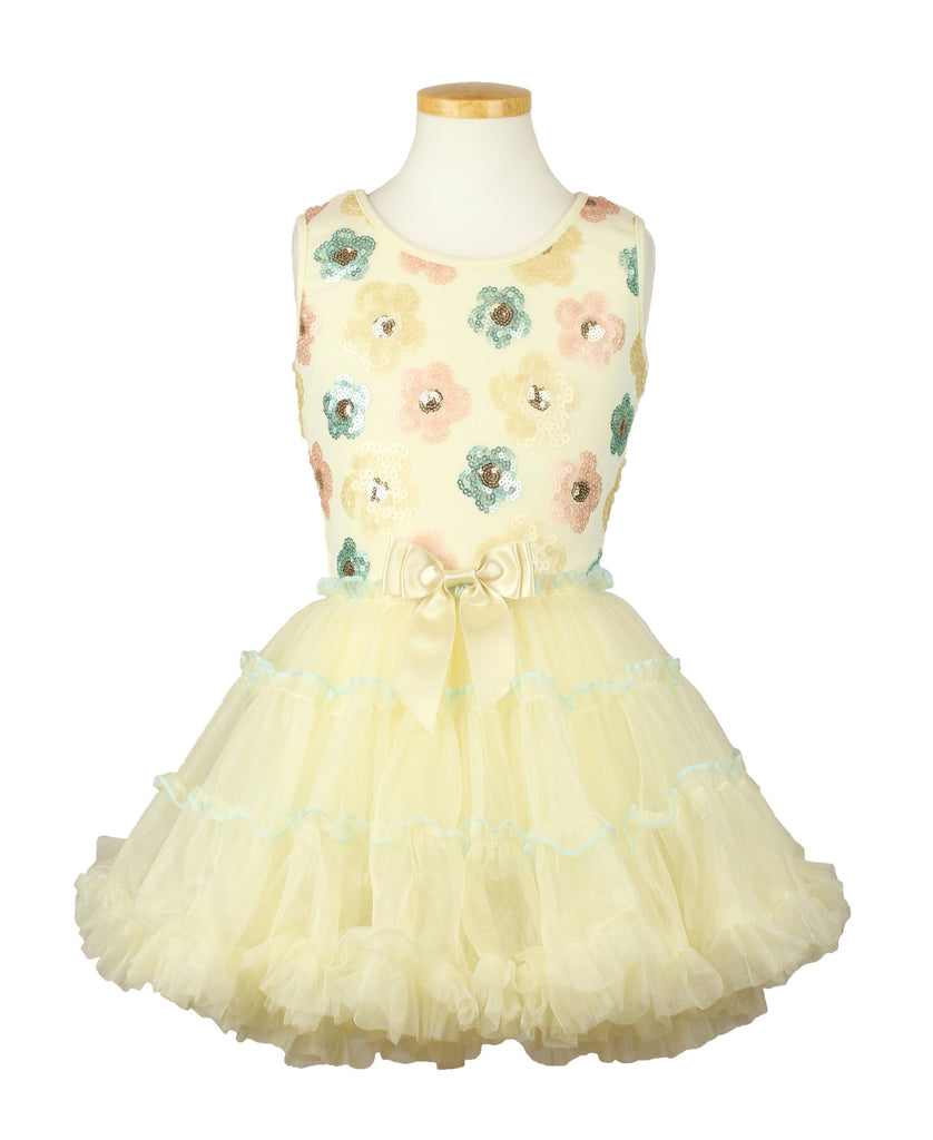 Popatu Little Girls Cream Flower Ruffle Dress - Popatu pageant and easter petti dress