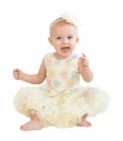 Popatu Baby Dress Cream Flower Petti Dress - Popatu pageant and easter petti dress