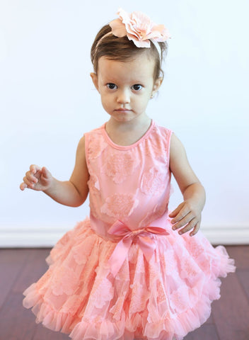 Popatu Baby Girls Peach Soutache Flower Ruffle Dress - Popatu pageant and easter petti dress