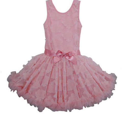 Popatu Little Girls Peach Soutache Flower Petal Dress - Popatu pageant and easter petti dress