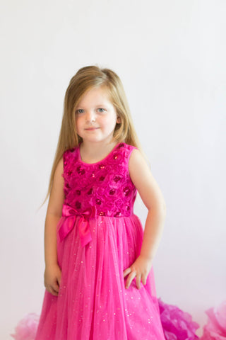 Popatu Hot Pink Sequin Dress - Popatu pageant and easter petti dress