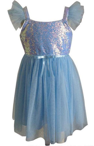Popatu Little Girl's Blue Sequin Tulle Dress - Popatu pageant and easter petti dress