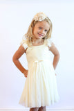 Popatu Little Girls Cream Sequin Tulle Dress - Popatu pageant and easter petti dress