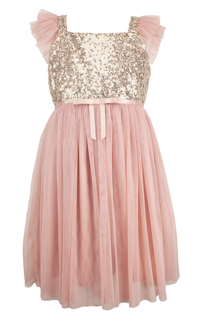 Popatu Little Girls Dusty Pink Sequin Tulle Dress