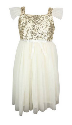 Popatu Little Girls Ivory/Gold Sequin Tulle Dress - Popatu