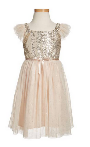 Popatu Little Girls Ivory Sequin Tulle Dress - Popatu