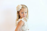 Popatu Little Girls Ivory Sequin Tulle Dress - Popatu pageant and easter petti dress