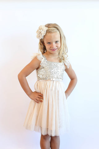 559bc6c2d23a ... Popatu Little Girls Ivory Sequin Tulle Dress - Popatu pageant and easter  petti dress ...