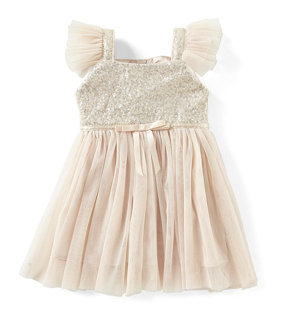 Popatu Baby Girls Ivory Sequin Tulle Dress 1
