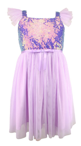 Popatu Little Girl's Lilac Sequin Tulle Dress - Popatu pageant and easter petti dress