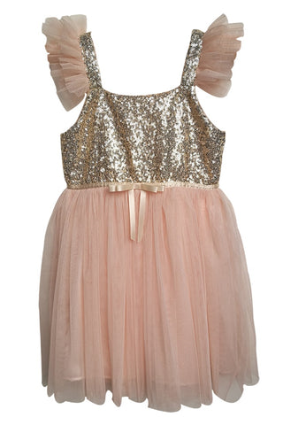 Popatu Little Girls Light Peach Gold Sequin Tulle Dress - Popatu pageant and easter petti dress
