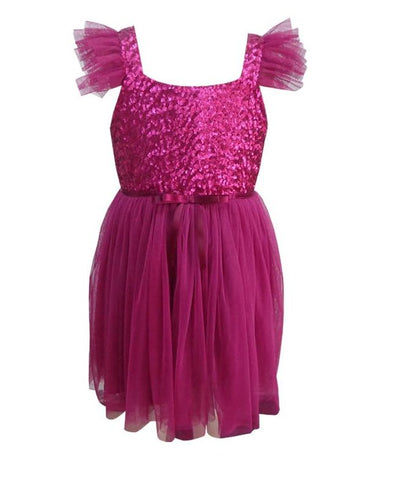 Popatu Baby Girls Magenta Sequin Tulle Dress - Popatu pageant and easter petti dress