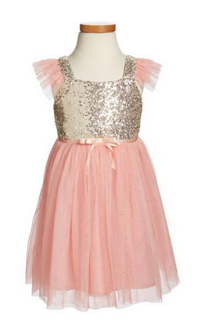 Popatu Little Girls Peach Gold Sequin Tulle Dress - Popatu