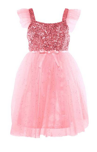 Popatu Little Girls Pink Sequin Tulle Dress - Popatu pageant and easter petti dress