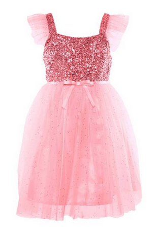 Popatu Little Girls Pink Sequin Tulle Dress - Popatu